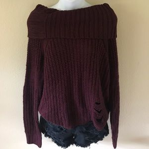 BURGUNDY CHUNKY OFF SHOULDER DISTRESSED SWEATER